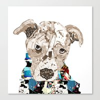 pit bull Canvas Prints featuring a pit bull day by bri.buckley