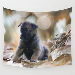 Beautiful puppies in autumn leave Wall Tapestry
