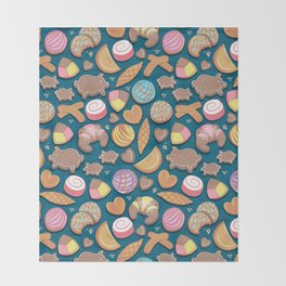 Mexican Sweet Bakery Frenzy // turquoise background // pastel colors pan dulce Throw Blanket