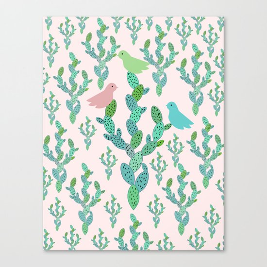 Birds and cacti Canvas Print