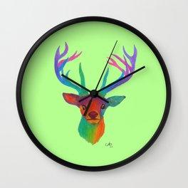 Rainbow Deer on Light Green Wall Clock