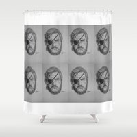 metal gear solid Shower Curtains featuring Punished Venom Snake - Metal Gear Solid V: The Phantom Pain by TuncayVural