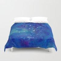 virgo Duvet Covers featuring Constellation Virgo by ShaMiLa