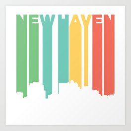 Retro 1970's Style New Haven Connecticut Skyline Art Print