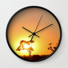 Sunset on the African Savanna Wall Clock