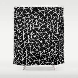 Connectivity - White on Black Shower Curtain