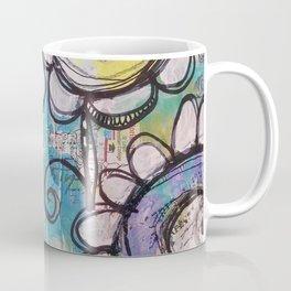 Aqua Flower Doodles Drawing Coffee Mug