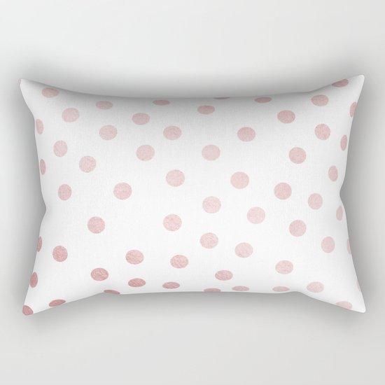 Simply Dots in Rose Gold Sunset Rectangular Pillow