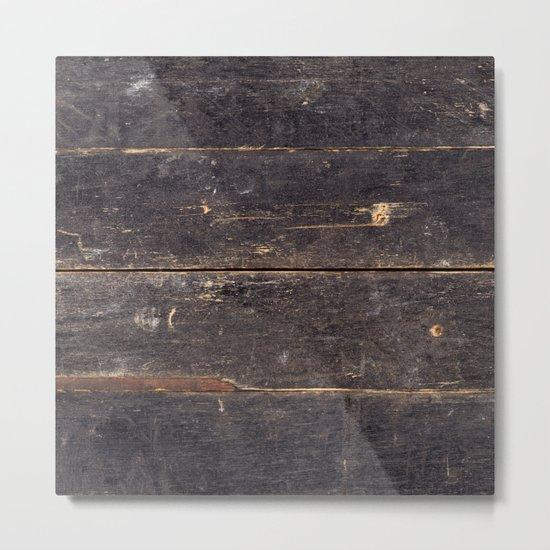 Vintage Black Wood Metal Print