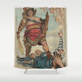 Vintage Illustration of a Gladiator Fight (1898) Shower Curtain