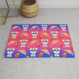 Cute happy funny baby puppy Schnauzers, sweet adorable yummy Kawaii croissants and red ripe summer strawberries cartoon sunny bright pink ans blue design Rug