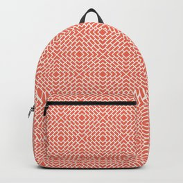 Pantone Living Coral and White Diamond Rectangle Line Pattern Backpack
