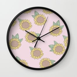 Sunflower autumn garden botanical blossom pattern pink girls Wall Clock