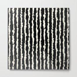 Simple Tattered Line Cream on Black Minimal Abstract Metal Print