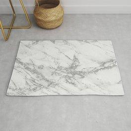 Elegant chic white gray silver glitter marble Rug