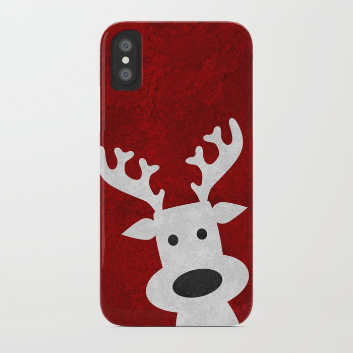 christmas reindeer red marble iphone case