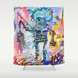 A digitally and roughly vectorised Jean Michel Basquiat Shower Curtain