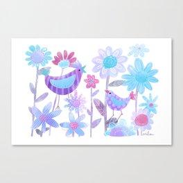 Birds in Flower Garden -blue Canvas Print