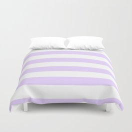 Chalky Pale Lilac Pastel and White Cabana Tent Stripes Duvet Cover