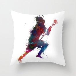 Lacrosse player art 1 Throw Pillow
