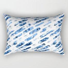 Watercolor blue brush rain Rectangular Pillow