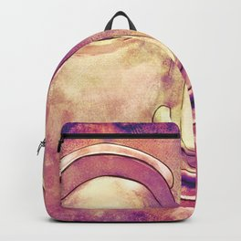 Trippy Buddha Face Painting in pink and orange for girls Backpack