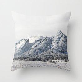 Frosty Flatirons Throw Pillow