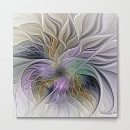 Abstract Flower, Colorful Floral Fractal Art Metal Print