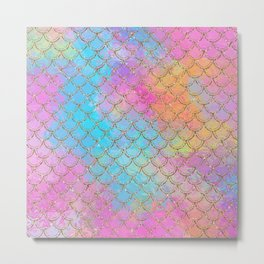 Pastel Mermaid Scales Gold Sparkle Glitter Metal Print