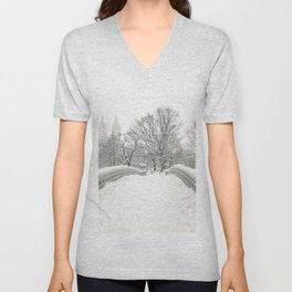 Winter Snow in New York City Unisex V-Neck