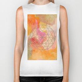 Warm Abstract with Geometric Sphere Biker Tank