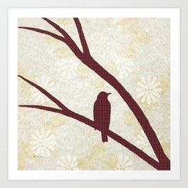 Bird Silhouette Red Pattern Art Print