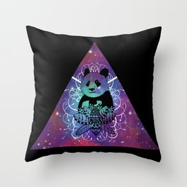 Black Panda in watercolor space background Throw Pillow