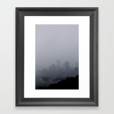 Pittsburgh in the fog Framed Art Print