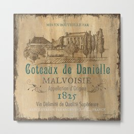 Barrel Wine Label 2 Metal Print