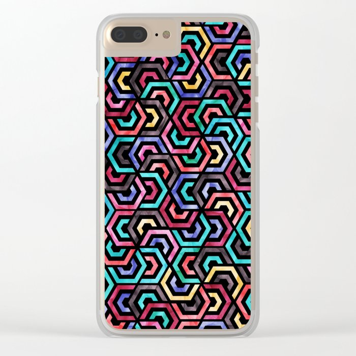Seamless Colorful Geometric Pattern XXV Clear iPhone Case