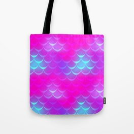 Pink and Blue Mermaid Tail Abstraction. Magic Fish Scale Pattern Tote Bag