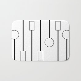 Minimalist Black and White Hanging Patterns Bath Mat