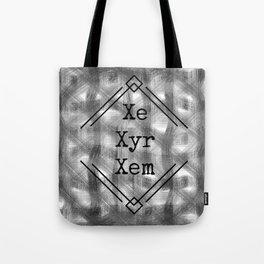 Xe/Xyr/Xem Pronouns B&W Tote Bag