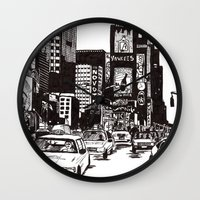 new york Wall Clocks featuring New York New York by Bianca Green