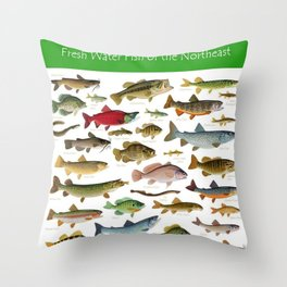 Illustrated Northeast Game Fish Identification Chart Throw Pillow