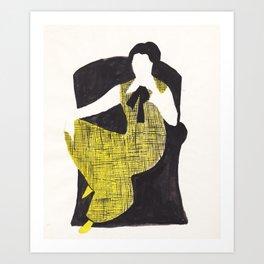 The yellow dress Art Print