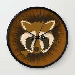 Curious Raccoon Peeking from a Tree Wall Clock