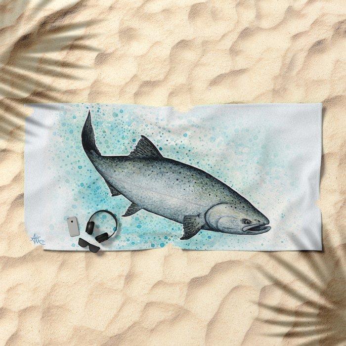 """Salmon Splash"" by Amber Marine ~ Watercolor Painting (Copyright 2016) Beach Towel"