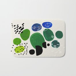 Fun Abstract Minimalist Mid Century Modern Colorful Shapes Lime Green Blue Watercolor Bubbles Bath Mat