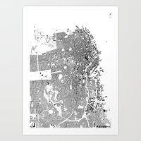 san francisco Art Prints featuring San Francisco by Maps Factory