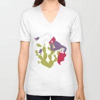cactus V-neck T-shirts featuring Cactus by Phantasmagoria