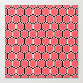 Bright coral, white and black hexagonal pattern Canvas Print