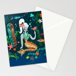 Blonde Leopard Martini Mermaid Stationery Cards