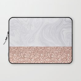 White Marble Dipped in Rose Gold Glitter Laptop Sleeve